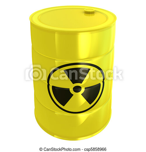 radioactive tank isolated on white - csp5858966