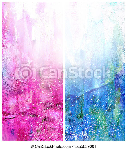 Beautiful watercolor background in soft white, blue and magenta - csp5859001