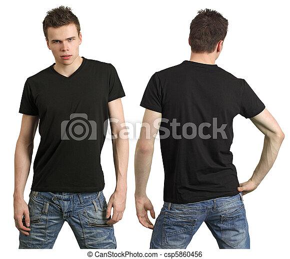 Teenager with blank black shirt - csp5860456