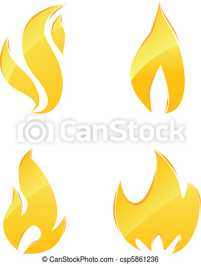 Glossy icons of fire  - csp5861236