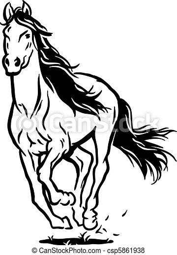 vector de funcionamiento caballo aislado negro blanco