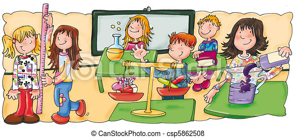 Stock Illustration of class, classroom, children are measured, meters ...