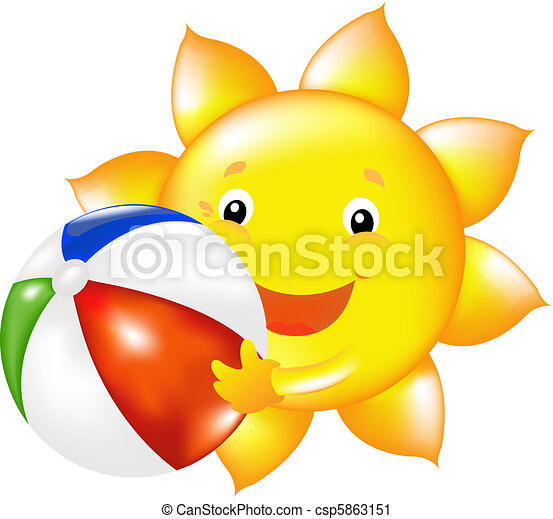 Sun With Beach Ball - csp5863151