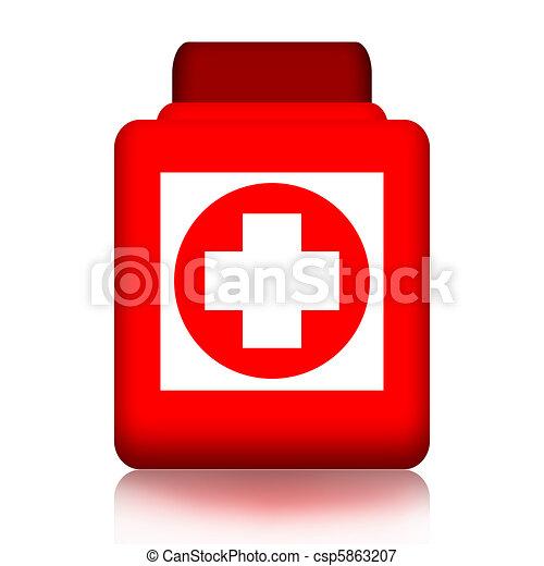 Jar of pills with medical cross - csp5863207