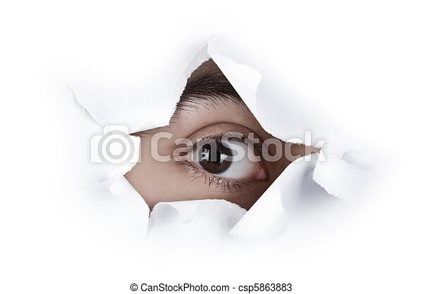 Eye Looking Through A Paper Hole - csp5863883