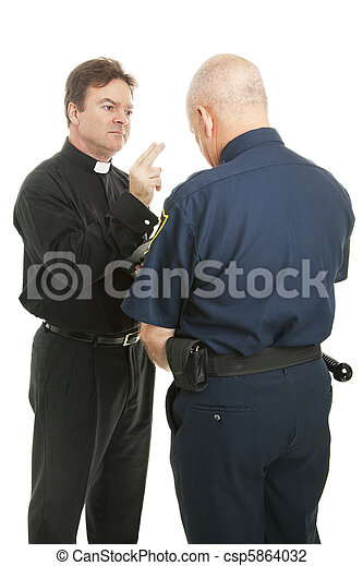 Priest Blesses Policeman - csp5864032