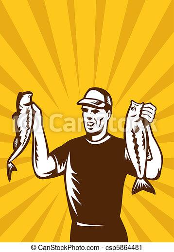 Fly Fisherman bass fish catch  - csp5864481