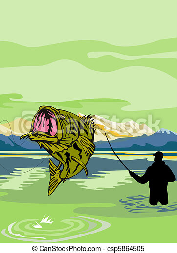 Largemouth Bass Fish fishing - csp5864505