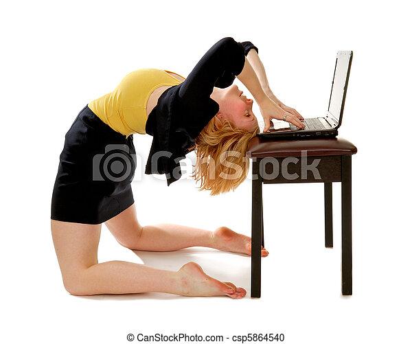 Business Woman Bending Over Backwards - csp5864540