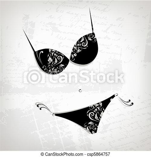 Female bikini, floral ornament for your design - csp5864757