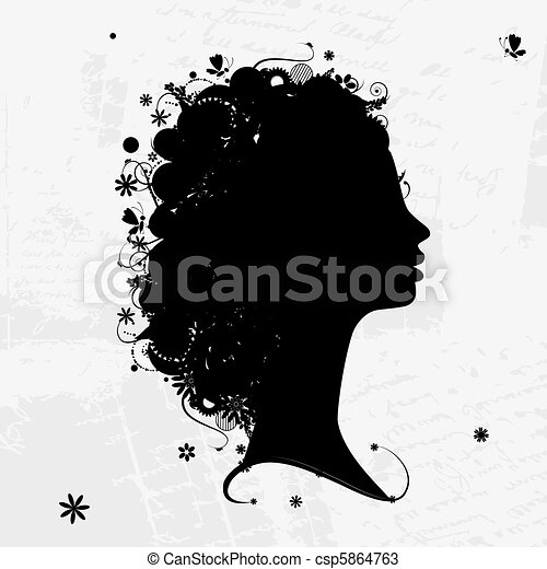 Female profile silhouette, floral hairstyle for your design - csp5864763