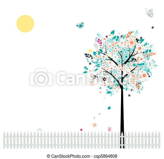 Floral tree beautiful for your design, birds on fence - csp5864808