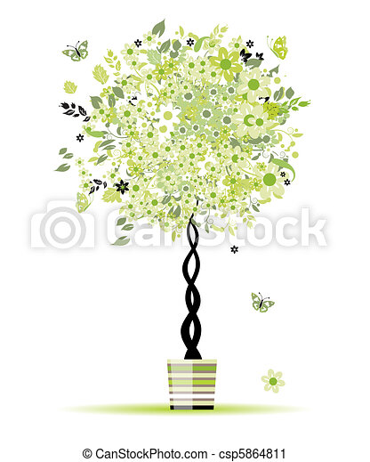 Spring floral tree in pot for your design - csp5864811