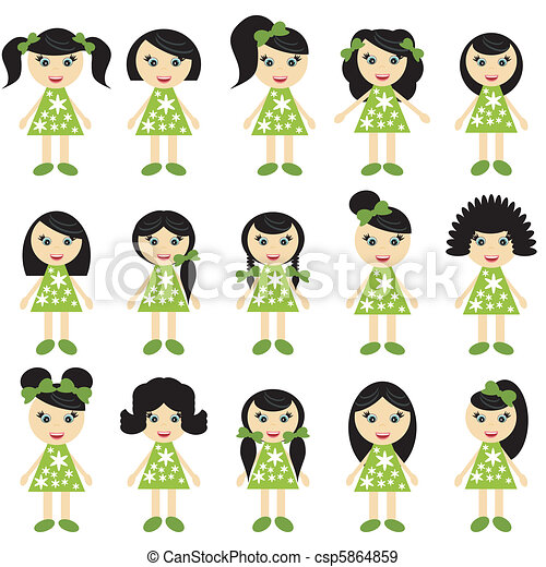 EPS Vectors of girls with different hair styles on white ...