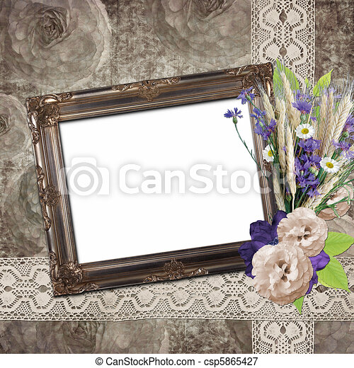 Vintage frame on grange roses background in stile scrapbooking - csp5865427