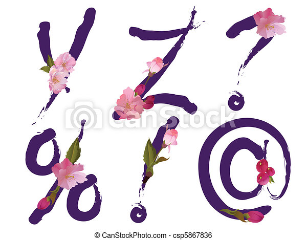 Spring alphabet letters Y,Z,signs - csp5867836