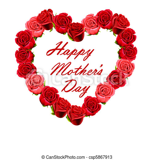 Mother's Day heart made of roses - csp5867913