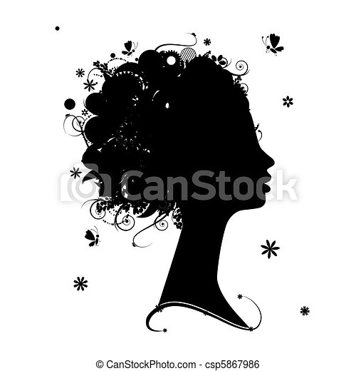 Female profile silhouette, floral hairstyle for your design - csp5867986