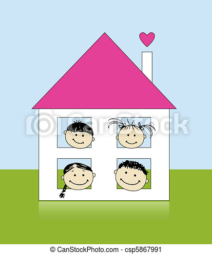 Happy family at own house smiling together, drawing sketch  - csp5867991