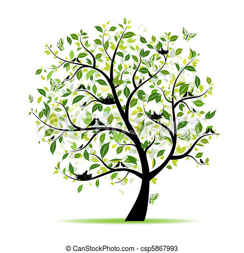 Spring tree green with birds for your design - csp5867993