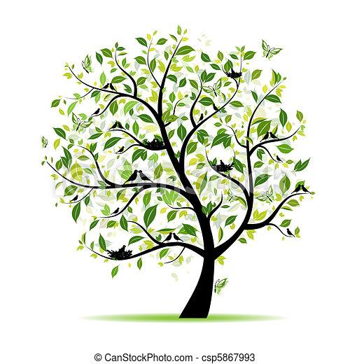 primavera, árvore, seu, verde, desenho, pássaros - csp5867993