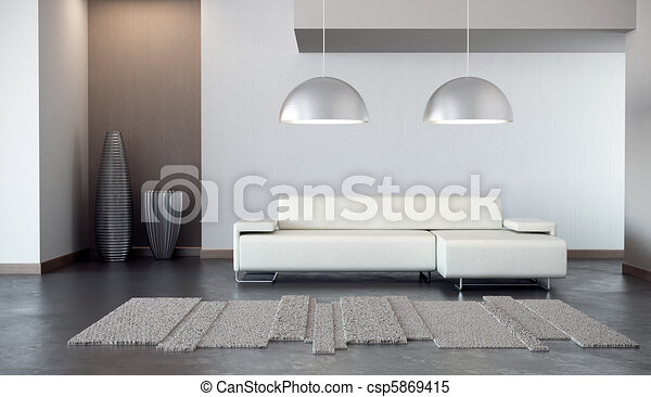 luxury lounge room 3d render - csp5869415