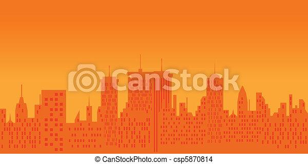 Cityscape at sunset - csp5870814