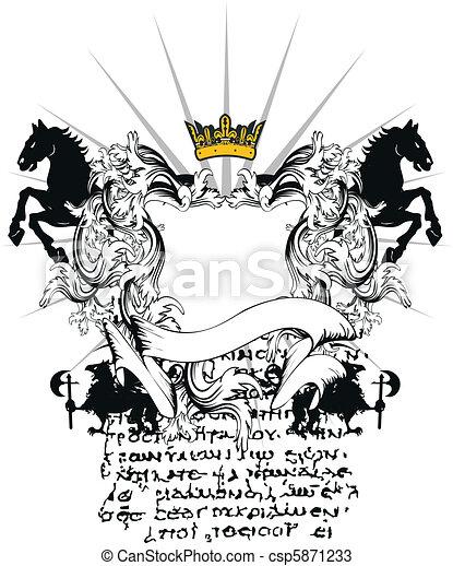heraldic coat of arms ornament 5 - csp5871233