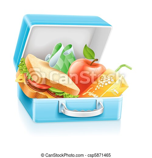 lunch box with sandwich apple and juice - csp5871465