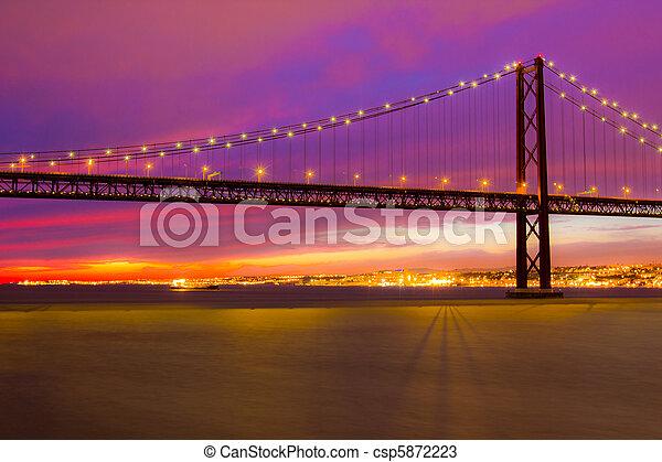The 25 de Abril Bridge in Lisbon - csp5872223