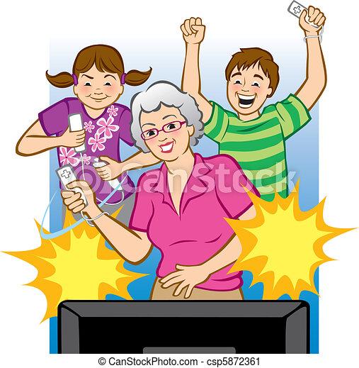 Grandma Playing Video Games - csp5872361