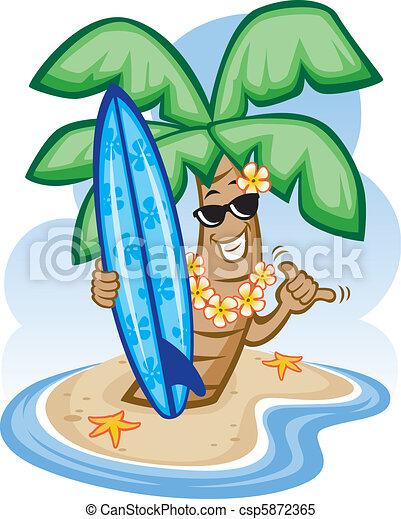 Palm Tree and Surfboard - csp5872365