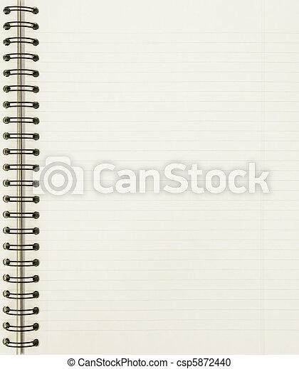em branco, caderno, folha - csp5872440