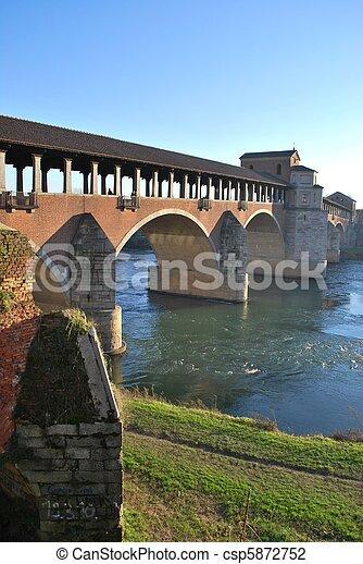 Covered bridge on Ticino river - csp5872752