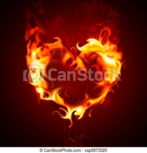 how to draw a burning heart