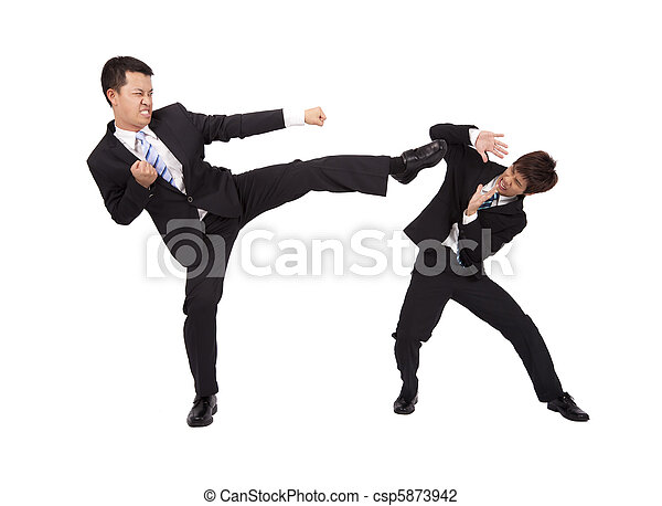 Asian Businessman are fighting by kung fu - csp5873942