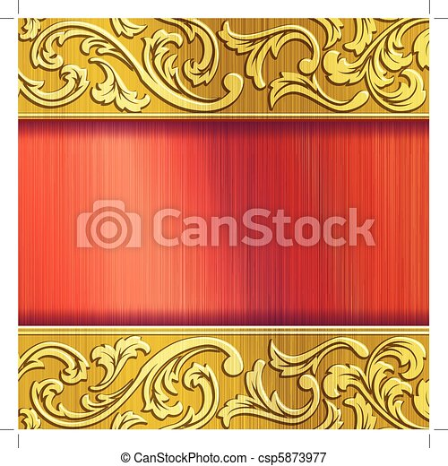 Brass horizontal banner in red - csp5873977