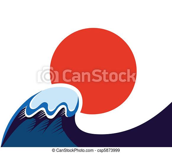 Japan symbol of sun and tsunami wawe isolated on white  - csp5873999