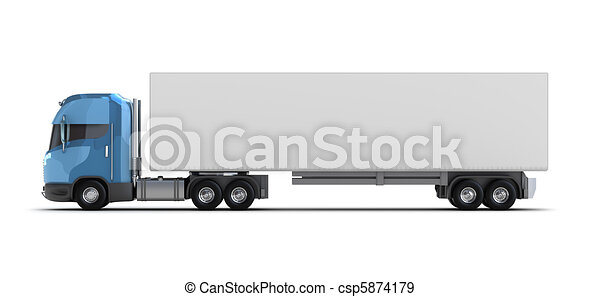 Truck with container isolated - csp5874179