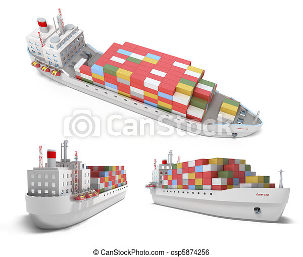Cargo ship with containers isolated - csp5874256