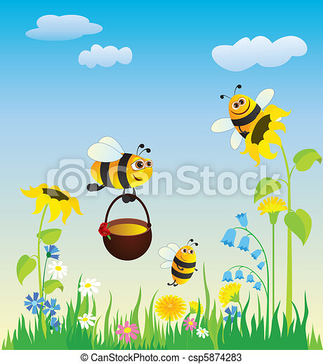 Meadow and bees  - csp5874283