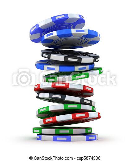 Poker gambling chips in pile - csp5874306