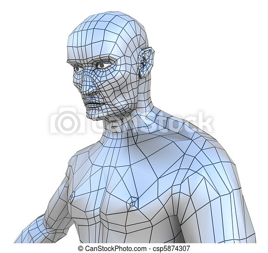 Human male mesh torso with head - csp5874307