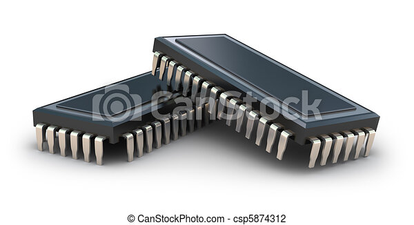 Computer chips isolated on white - csp5874312