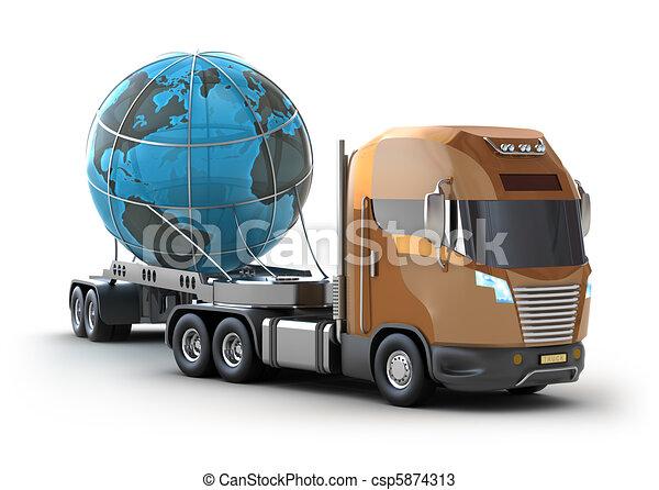 Modern truck transporting the globe - csp5874313