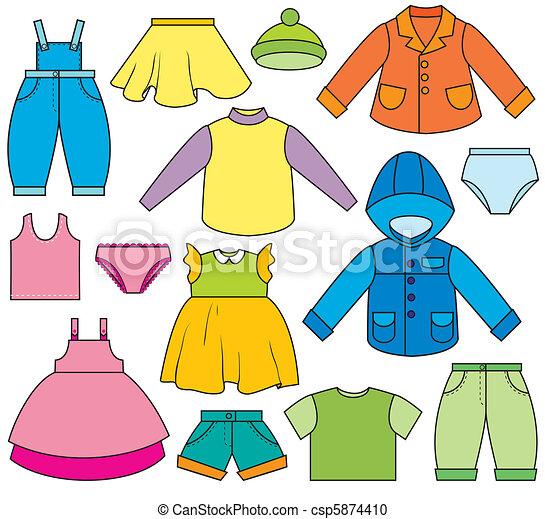 vector clip art de ni os ropa un conjunto de diferente tipos de ropa csp5874410. Black Bedroom Furniture Sets. Home Design Ideas