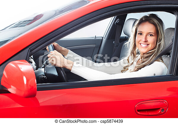 woman  in the car - csp5874439