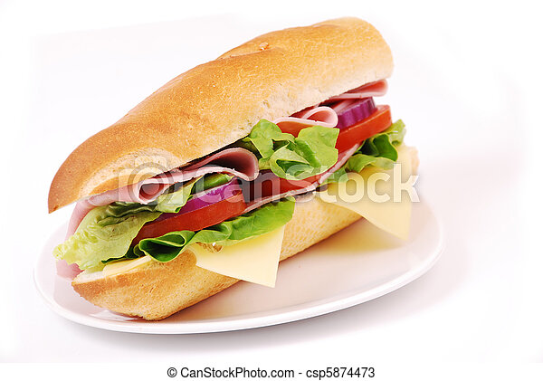 sandwich with ham and vegetables  - csp5874473