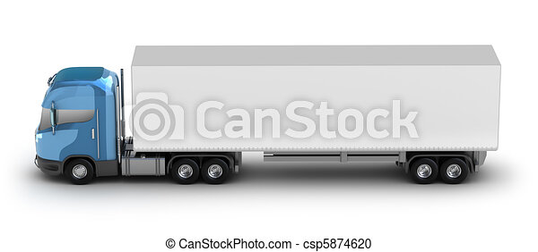 Blue truck with trailer on white - csp5874620