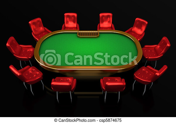 Poker table with chairs top side - csp5874675